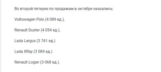 Названы самые популярные автомобили в России по итогам октября