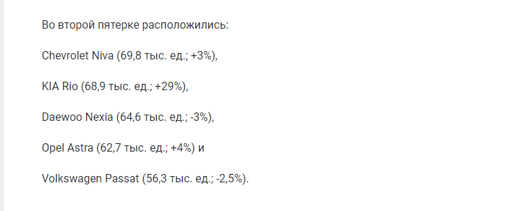 Назван Топ-10 самых популярных иномарок с пробегом в России