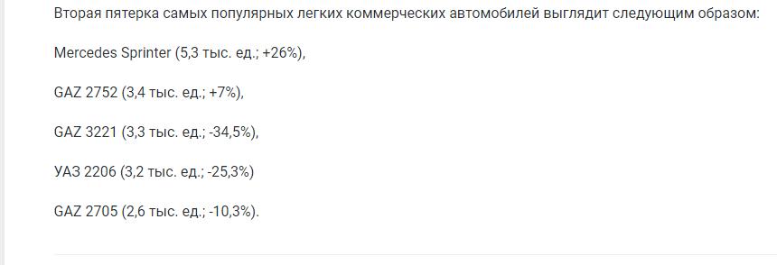 Составлен ТОП-10 самых продаваемых коммерческих авто на рынке России