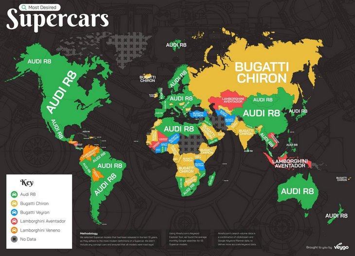 Стало известно какие суперкары в мире «гуглят» чаще всего