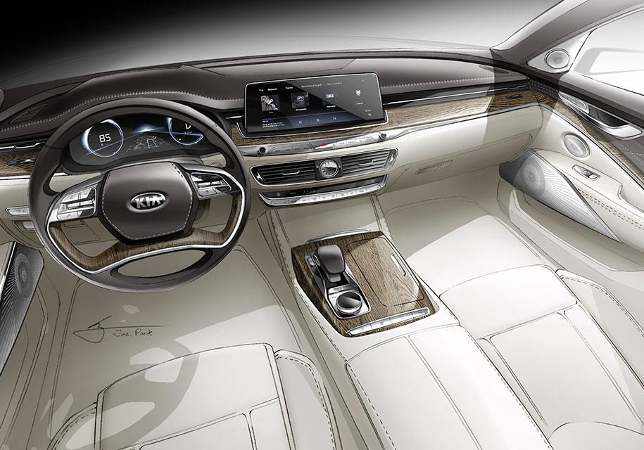 Роскошный интерьер нового седана Quoris показала Kia