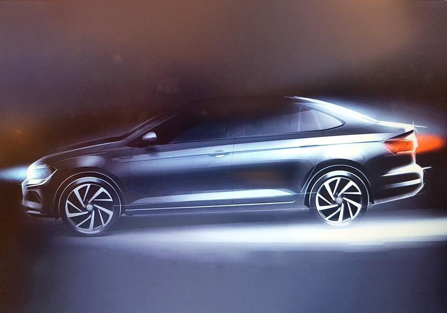 Опубликован свежий тизер нового седана Volkswagen Virtus 2018
