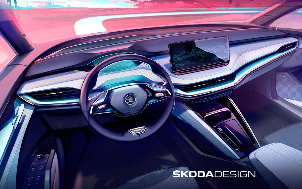 В Skoda показали интерьер нового кроссовера Skoda Enyaq iV