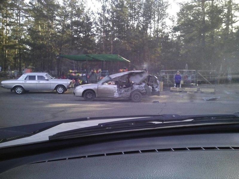 БТР врезался в Nissan на объездном шоссе в Чите