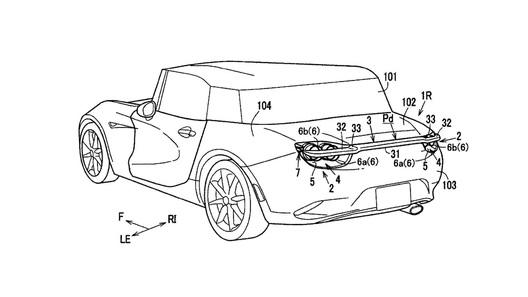Mazda запатентовала новый спойлер, скрывающийся в фарах