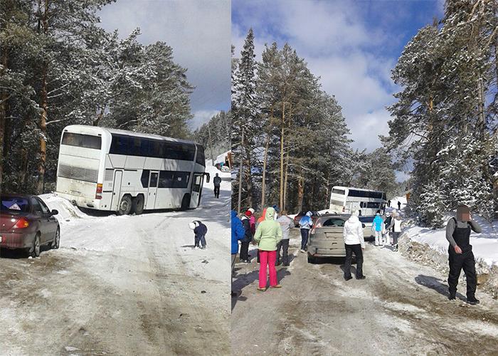 В Прикамье автобус с туристами чуть не свалился с обрыва