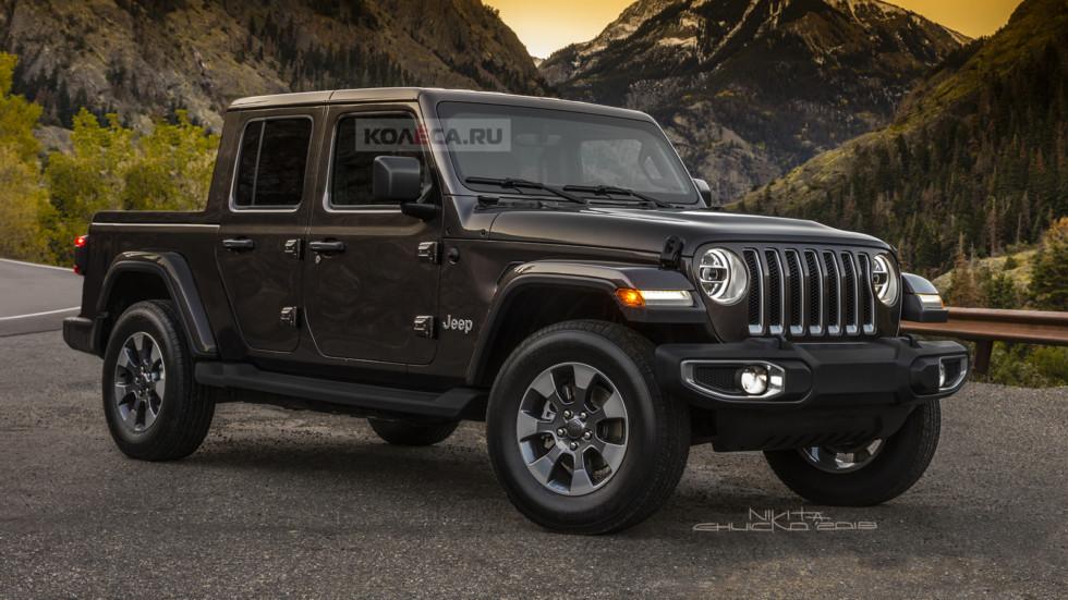 В Сети показали рендерные изображения нового пикапа Jeep Scrambler
