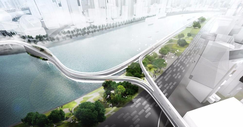 BMW в Китае показала концепцию надземных дорог для электробайков
