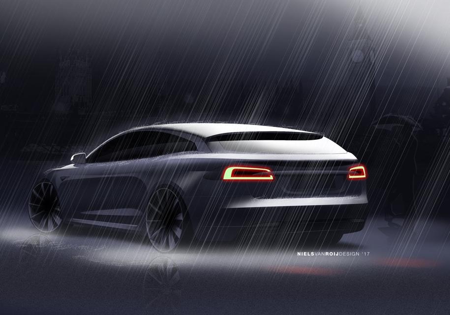 В Сети рассекретили дизайн универсала на базе Tesla Model S