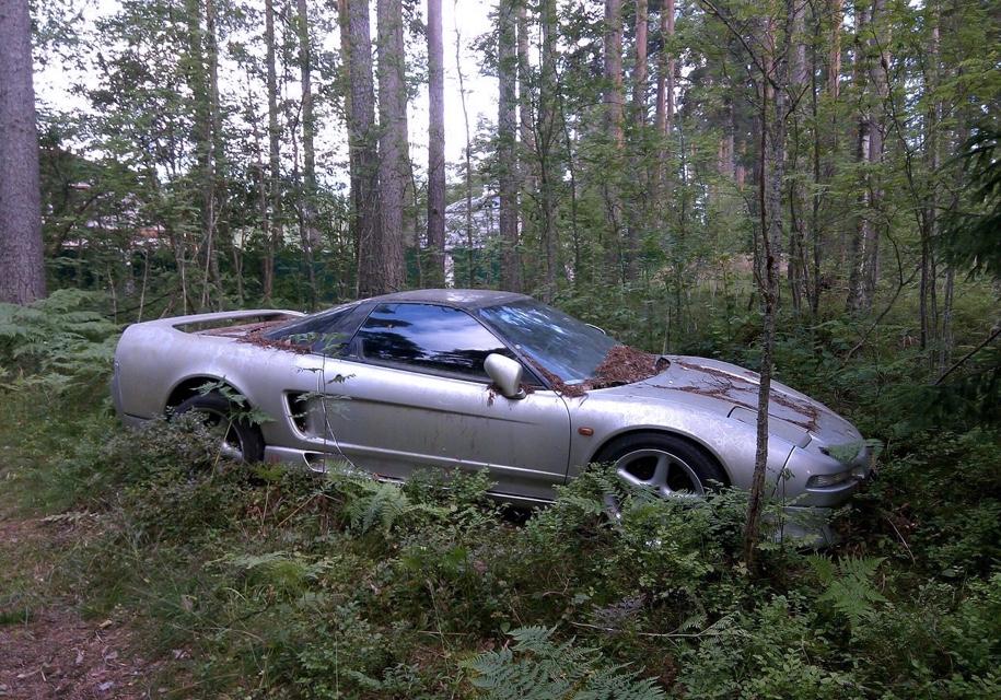 Покрытый мхом спорткар Honda NSX найден в лесу под Петербургом
