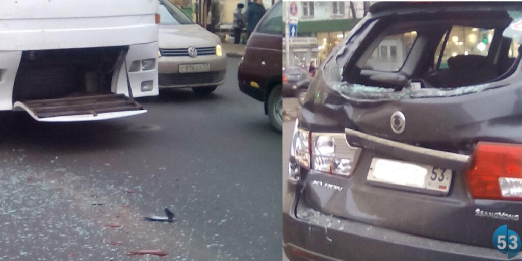 Автобус и легковушка SsangYong столкнулись на перекрестке в Великом Новгороде