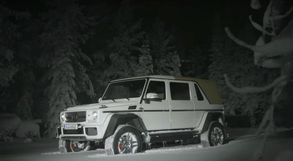 Mercedes-Benz показал дрифт по снегу роскошного Maybach G650 Landaulet