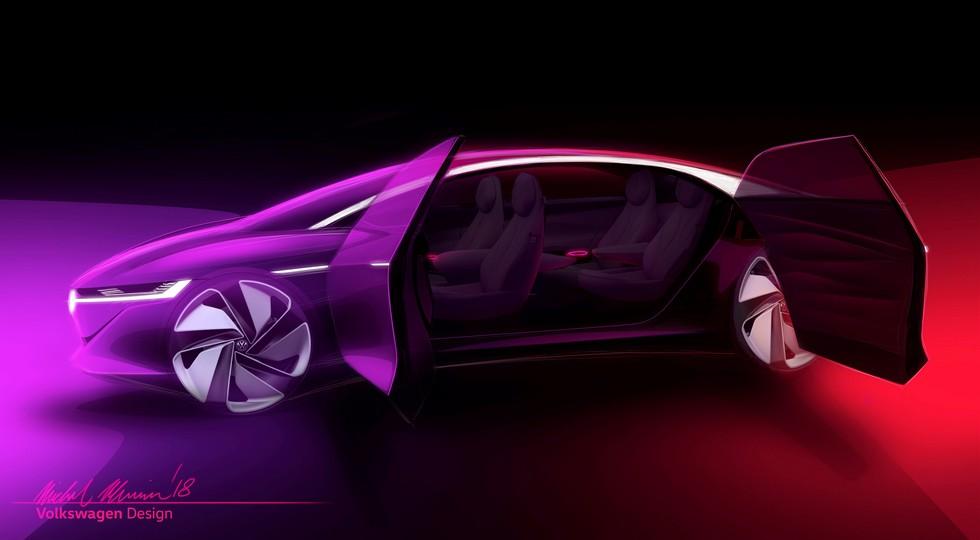 Опубликованы новые тизеры большого седана Volkswagen I. D. Vizzion class=